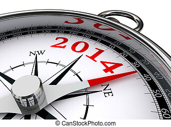 new year 2014 indicated by conceptual compass