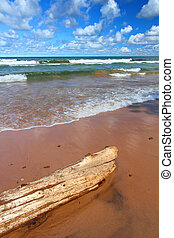 Lake Superior Beach - Beach landscape of waves crashing...