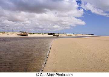 Pititinga (RN Brazil) Boats on the beach - Two fisher boats...