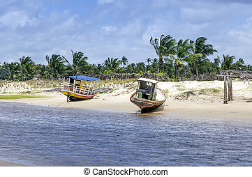 Pititinga (RN, Brazil) boats on the beach - Two fisher boats...