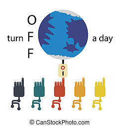 Turn Off a Day - Concept illustration on turn off electric...