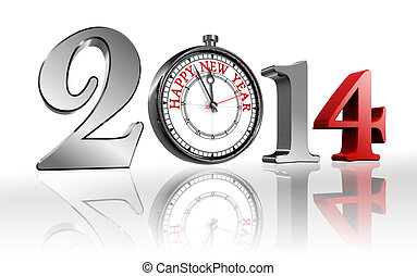 happy new year 2014 clock metal and red clipping path...