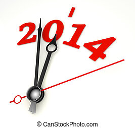 new year 2014 concept clock hands closeup on whte background