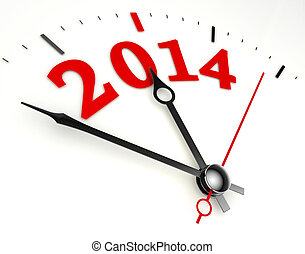 new year 2014 concept clock face closeup on whte background