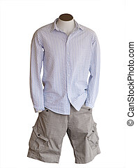 Male Shop Mannequin Wearing Shorts isolated with clipping...