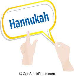 hands holding abstract cloud with hannukah word
