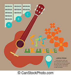 uKulele1brown - Prepress music poster concept illustrated a...