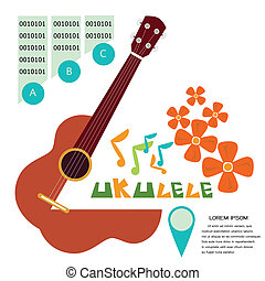 uKulele1white - Prepress music poster concept illustrated a...