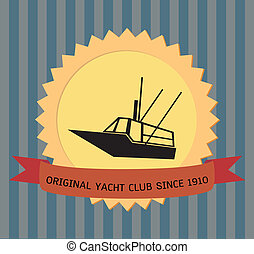 Yacht Banner - Yacht club banner with ribbon text, vector 10...