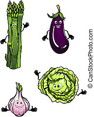 Cabbage, spinach, eggplant and garlic in cartoon mascot...