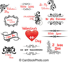 Love and Valentine' Day calligraphic headers for holiday...