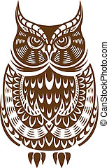 Brown owl with decorative ornament isolated on white...