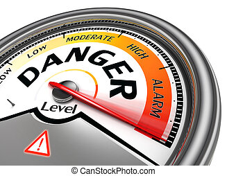 danger level conceptual meter indicate hundred per cent,...