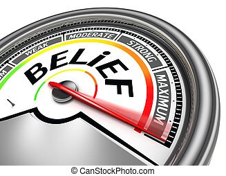 belief conceptual meter indicate maximum, isolated on white...