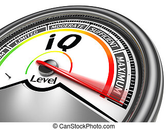 iq conceptual meter indicate maximum, isolated on white...