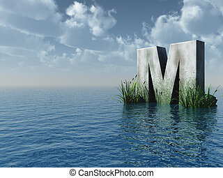 letter M rock in water landscape - 3d illustration