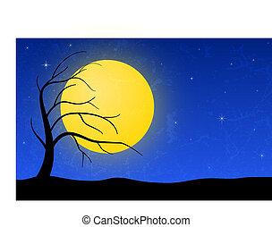 Night landscape. EPS 10 vector illustration. RGB color mode.