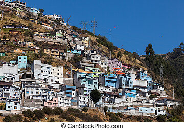 Quito, Ecuador - Houses on the El Panecillo hill in Quito,...
