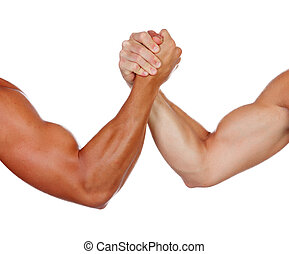 Two powerful men arm wrestling isolated on a white...