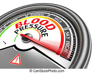 blood pressure conceptual meter indicate sky high, isolated...