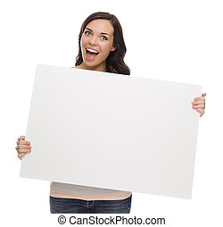 Beautiful Mixed Race Female Holding Blank Sign on White -...