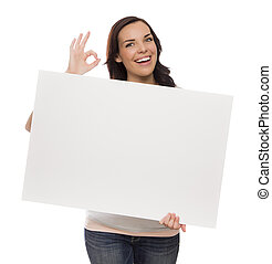 Smiling Mixed Race Female Holding Blank Sign on White -...