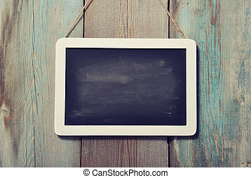 framed blackboard - Small wooden framed blackboard on wooden...