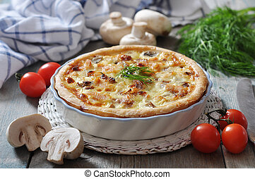 quiche pie with chicken and mushroom - Traditional french...