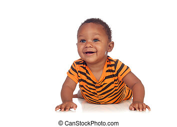 Adorable african baby lying on the floor isolated on a white...