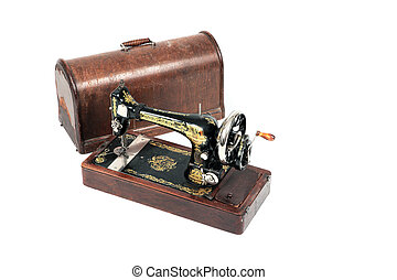 The old sewing machine with a cover