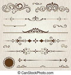 Vintage frames and scroll elements set,vector illustration.