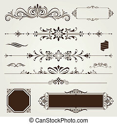 Vintage frames and scroll elements set,vector illustration.
