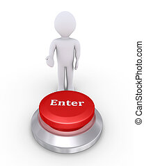 Person offers enter button - 3d person is showing the Enter...