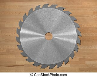 Saw Blade - A saw blade isolated against a wooden background