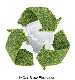 grass recycle symbol with globe - recycle symbol by real...