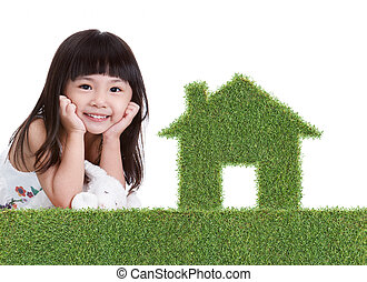 green grass house with girl - green grass house with cute...