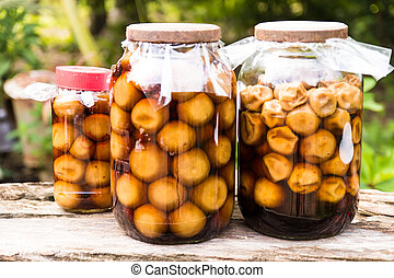 Pickled lemon in a glass jar