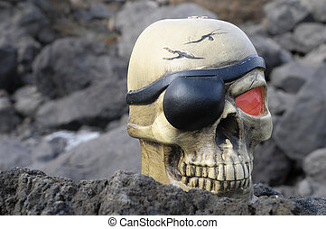 Pirate Skull - One Pirate Skull with a Red Eye and a Patch