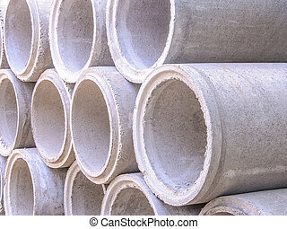 concreto, drenaggio, tubi per condutture