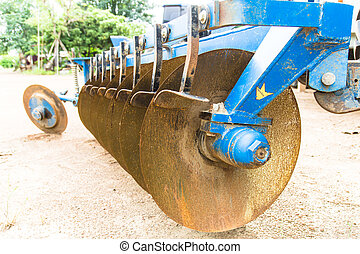Rusted hard disc harrow, outdoor, close up