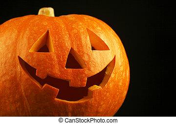 Jack-o-lantern - Halloween funny Jack-o-lantern over black...
