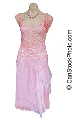 Pink Evening Dress isolated with clipping path