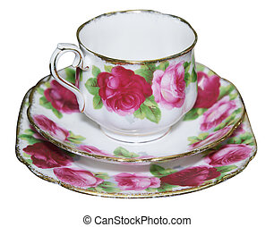 Cup Saucer and Plate with Roses - Cup saucer and Plate with...
