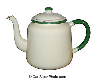 Old Enamel Teapot isolated with clipping path