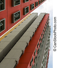 Colorful Apartment - A low angle shot of a new colorful high...