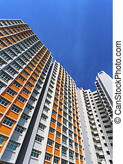 Colorful Apartment - A vertical low angle shot of a new...