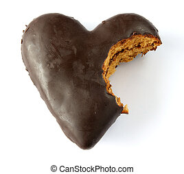 Chocolate covered gingerbread heart - Single gingerbread...