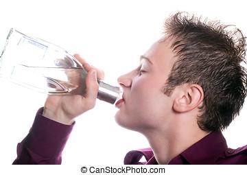 vodka, boissons, jeune, bouteille, homme