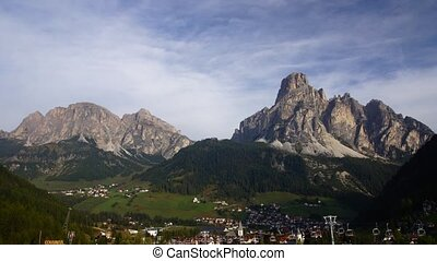 Village in Italian Alps, Dolomites - time-lapse