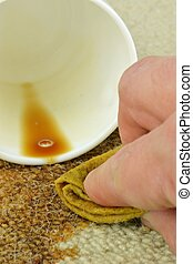Cleaning stain from Carpet - Cleaning a coffee stain from a...